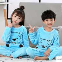 Hot Winter Children Fleece Pajamas Warm Flannel Sleepwear Girls Loungewear Coral Fleece Kids Pijamas Homewear Winter Pyjama Set