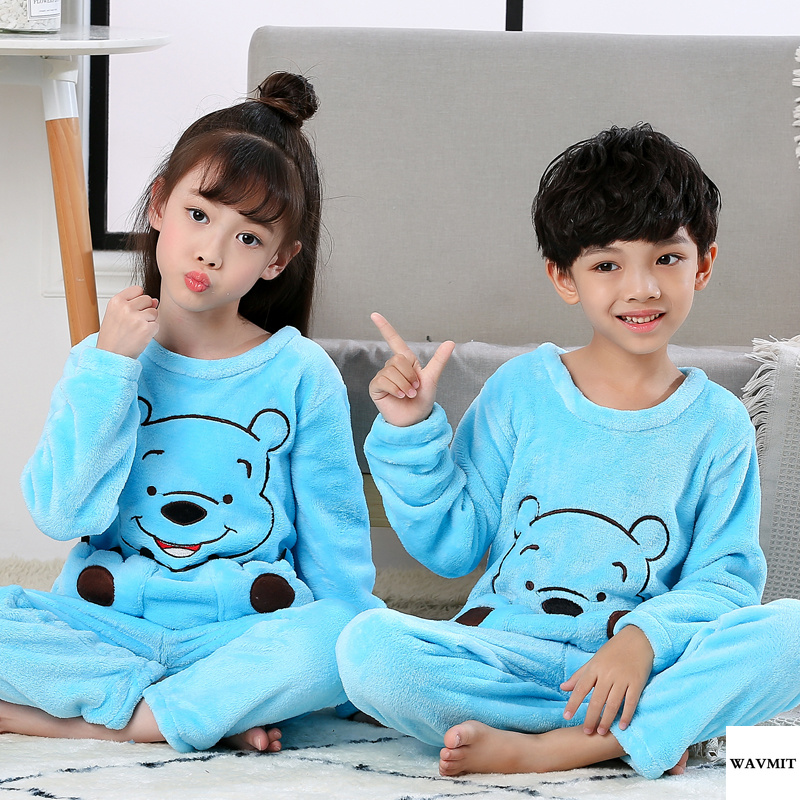 Hot Winter Children Fleece Pajamas Warm Flannel Sleepwear Girls Loungewear Coral Fleece Kids Pijamas Homewear Winter Pyjama Set
