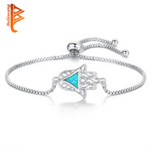 Fashion Blue Opal Triangle Hamsa Hand Crystal Bracelets For Women Adjustable Silver Charm Bracelet & Bangles Friendship Jewelry(China)