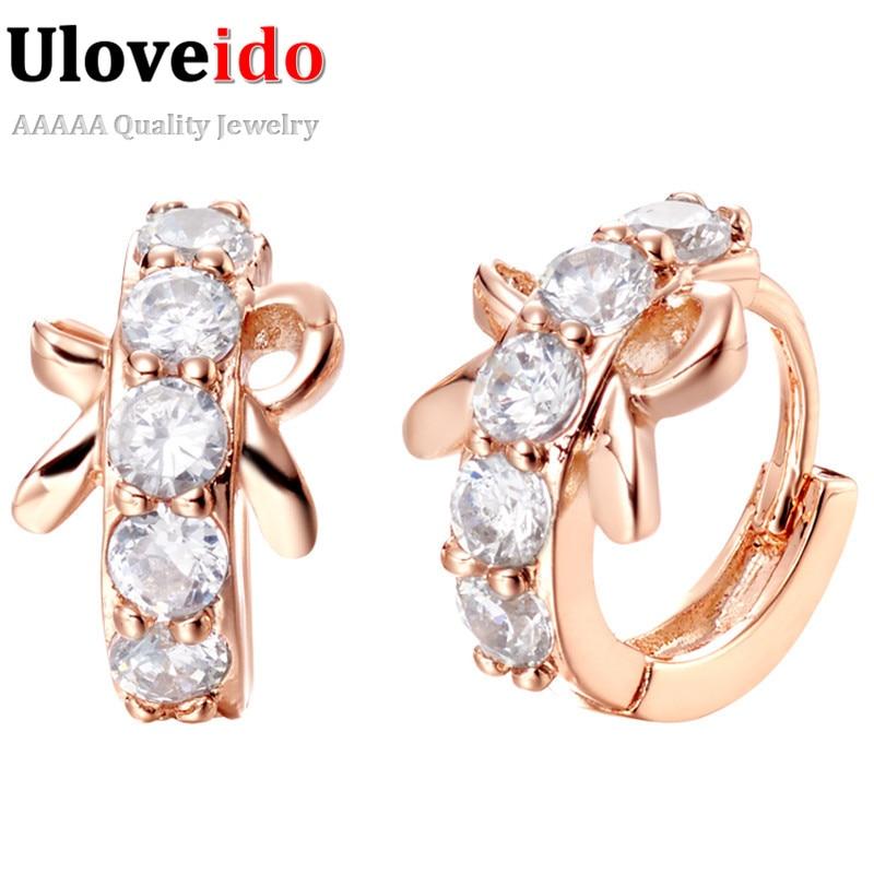 50c985d86b45 Bowknot brincos plata moda mujer cristal Pendientes Rosa oro color  Pendientes boda Stud earing al por mayor uloveido r316