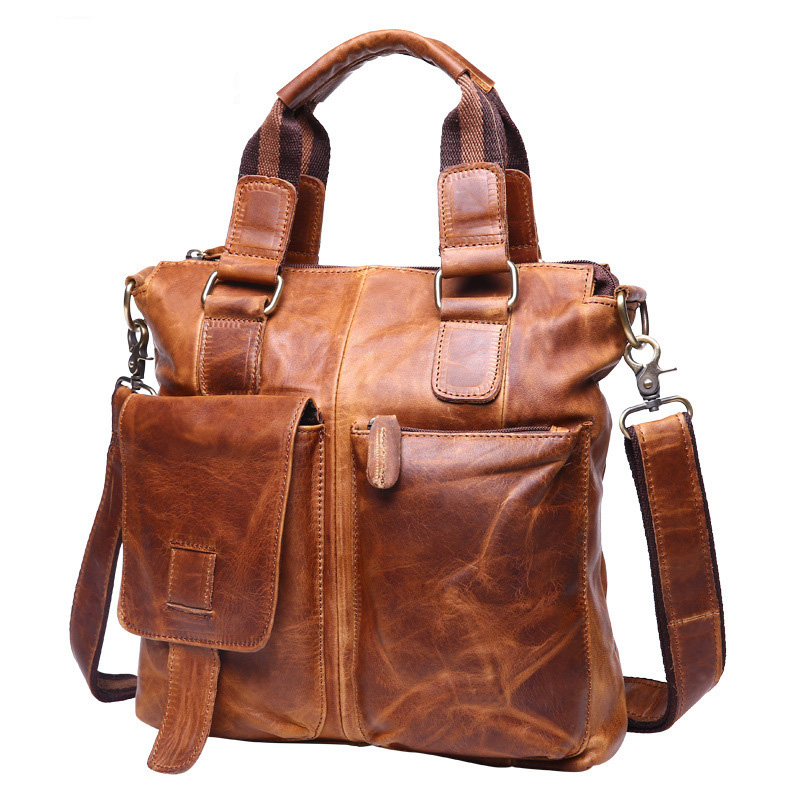 100% Genuine Leather Crazy Horse Leather Cowhide Briefcase Shoulder Tote Messenger Bags Men Handbags Crossbody Bags For Men Male