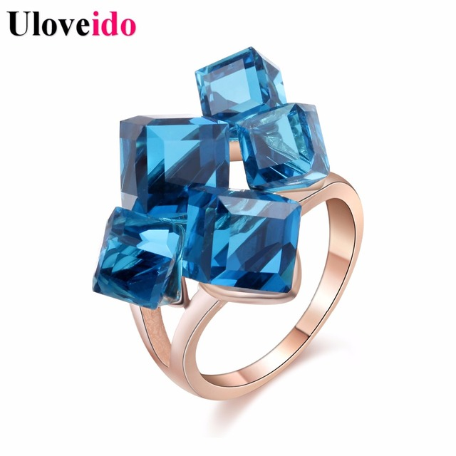 Uloveido Ladies Crystal Engagement Cocktail Ring Large for Women Zircon with Blu