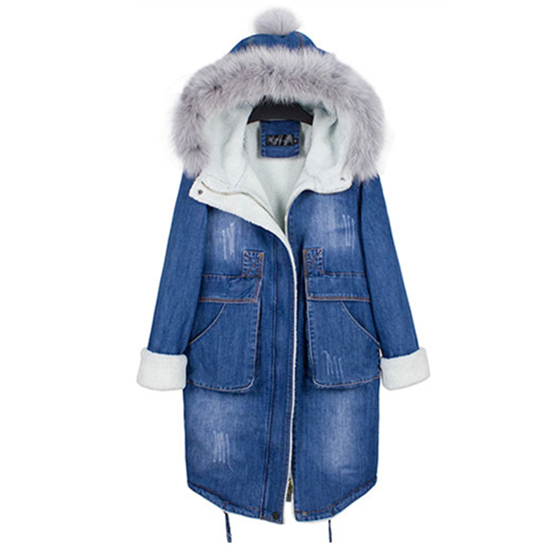 Hot Women Coat 2017 Winter Casual Long Denim Cotton Jacket Outerwear Female Plus Size Loose Hooded Wool Coat Casaco Feminino hooded long printing casaco feminino inverno 2017 warm thicken cotton padded winter jacket women female coat parka women s