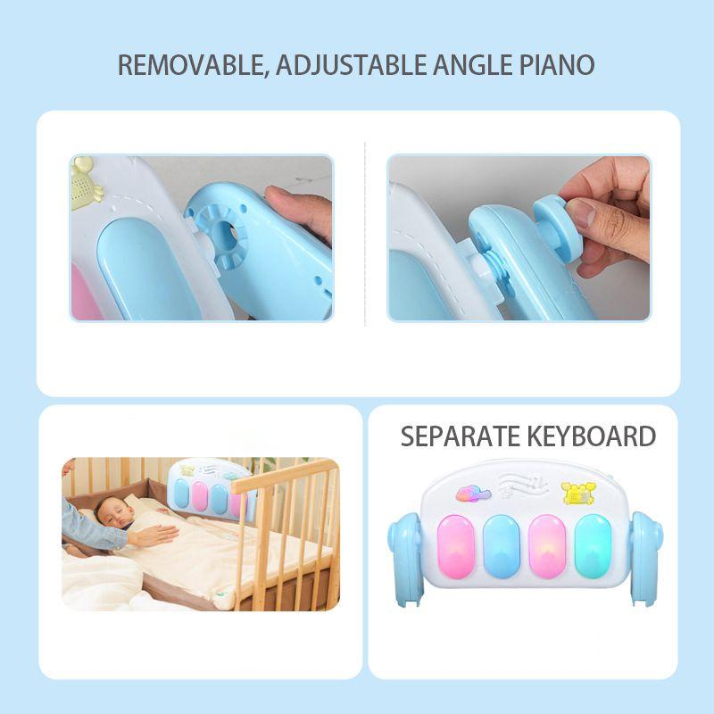 Enfants bébé coup de pied jouer nouveau-né jouet avec Piano pour nouveau-né bébé début activité d'éducation bande dessinée jouer tapis Gym musique tapis couvertures - 3
