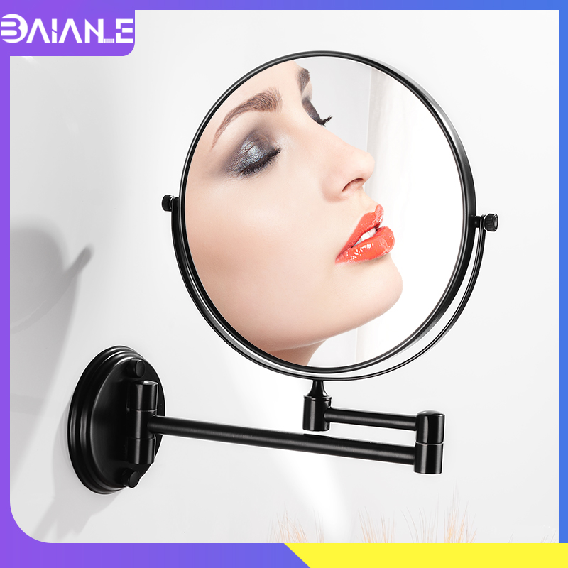 Bathroom Mirror Black Stainless Steel Cosmetic Mirror Magnifying 8 inch Round Folding Makeup Mirror Wall Mounted