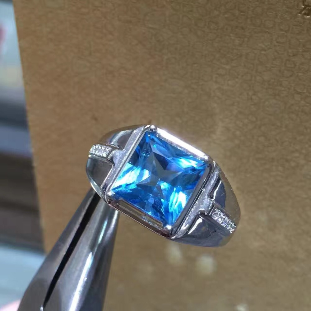 Real And Natural Blue Topaz Ring Man ring Free shipping 925 sterling silver 7*9mm gem For men Fine handworked jewelry Real And Natural Blue Topaz Ring Man ring Free shipping 925 sterling silver 7*9mm gem For men Fine handworked jewelry