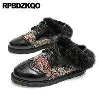 Черный со стразами на шнуровке Зимние удобные коричневые с круглым носком мех Ретро Кристалл отдыха винтажные женские оксфорды обувь броги
