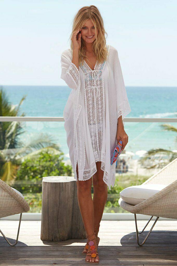 Womens Bikini Cover Up Swimwear Beach Maxi Wrap Sarong Kaftan Dress Long Tops White Chiffon Lace up Cover ups in Cover Ups from Sports Entertainment