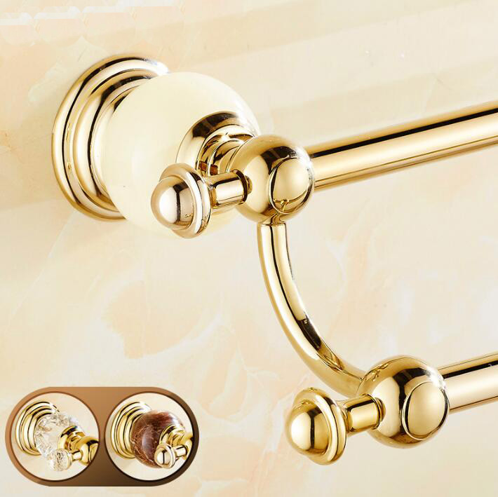 High Quality Gold wall mounted 24 inch Double Towel Bar Brass&Jade Towel Holder Bathroom Towel Rack Bathroom accessories кольцо коюз топаз кольцо т142015055