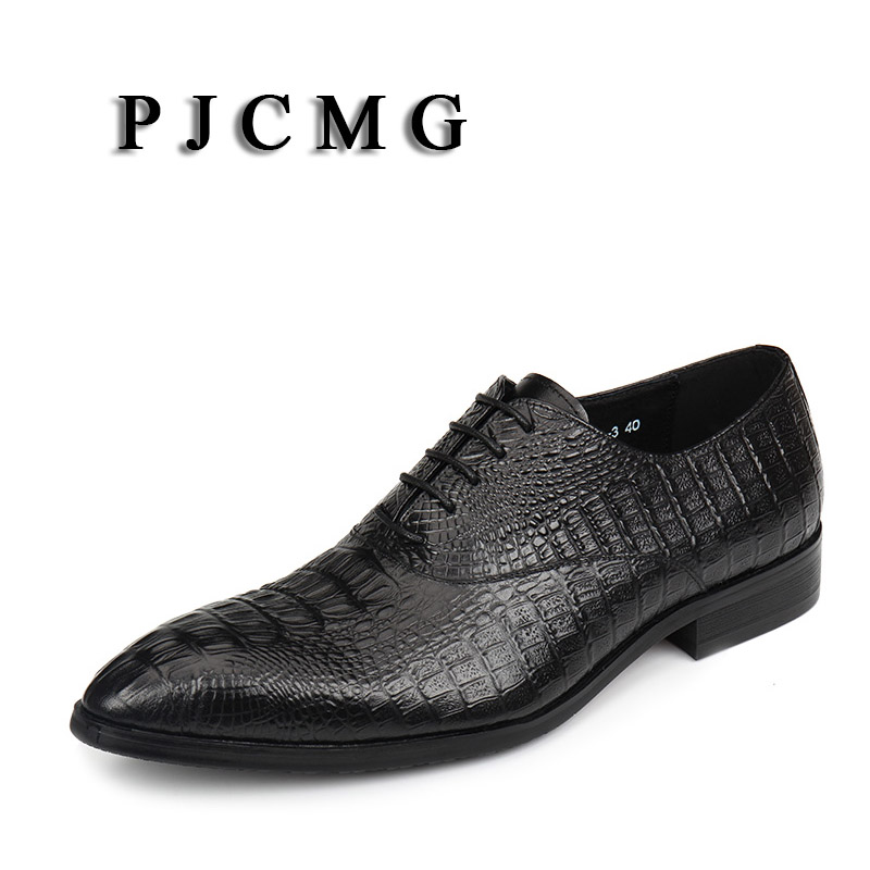 PJCMG New Black Red Blue Crocodile Pattern Lace Up Oxfords Pointed Toe Genuine Leather Wedding Mens