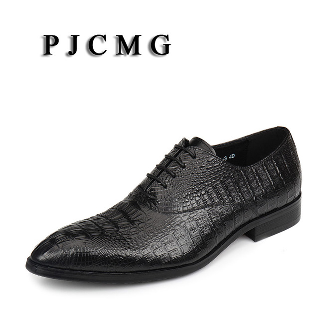 1b0409aeb030c6 PJCMG New Black  Red Blue Crocodile Pattern Lace-Up Oxfords Pointed Toe  Genuine Leather Wedding Mens Business Work Shoes