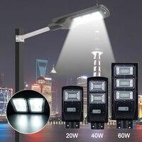 New 20/40/60W LED Street Light LED Solar Light Radar PIR Motion Sensor Wall Timing Lamp+Remote Waterproof for Plaza Garden Yard