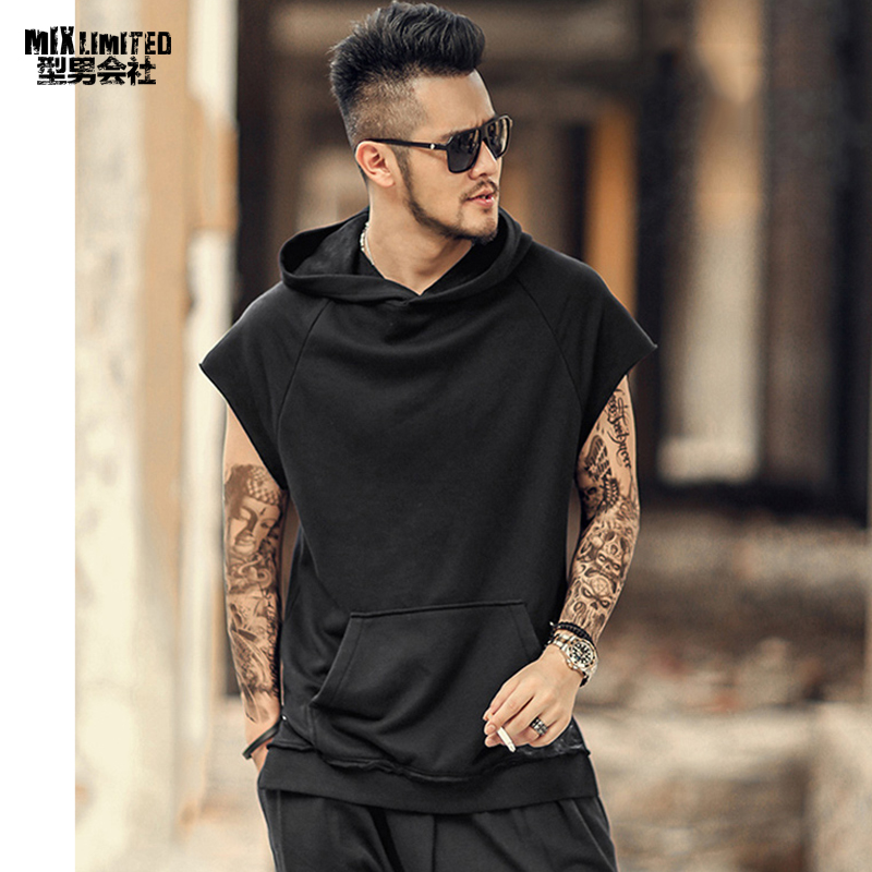 New Style Summer Men Slim Black High Street Short Sleeve Sweatshirt Metrosexual Men Casual Cotton Hooded Hip Hops Tank Tops T326