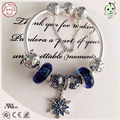 Popular High Quality Silver Jewelry Gift  Dark Blue Silver Charm Series 100% 925 Sterling Silver Star Charms Bracelet