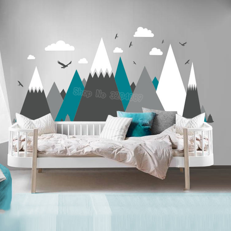 Gray Cream Mountains Wall Sticker Home Decor For Kids Room Nursery Eagles Pine Trees Clouds Beautiful