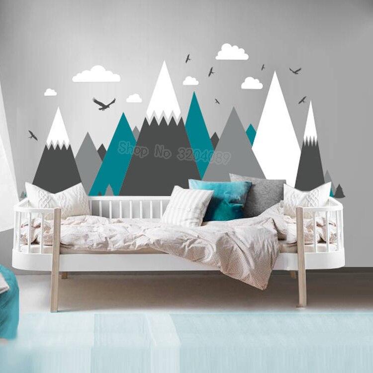 Ev ve Bahçe'ten Duvar Çıkartmaları'de Gri Krem Dağlar Duvar sticker ev dekor Çocuk Odası Kreş Kartallar Çam Ağaçları Bulutlar Güzel Sanat Resimleri Çıkartması JW373'da  Grup 1