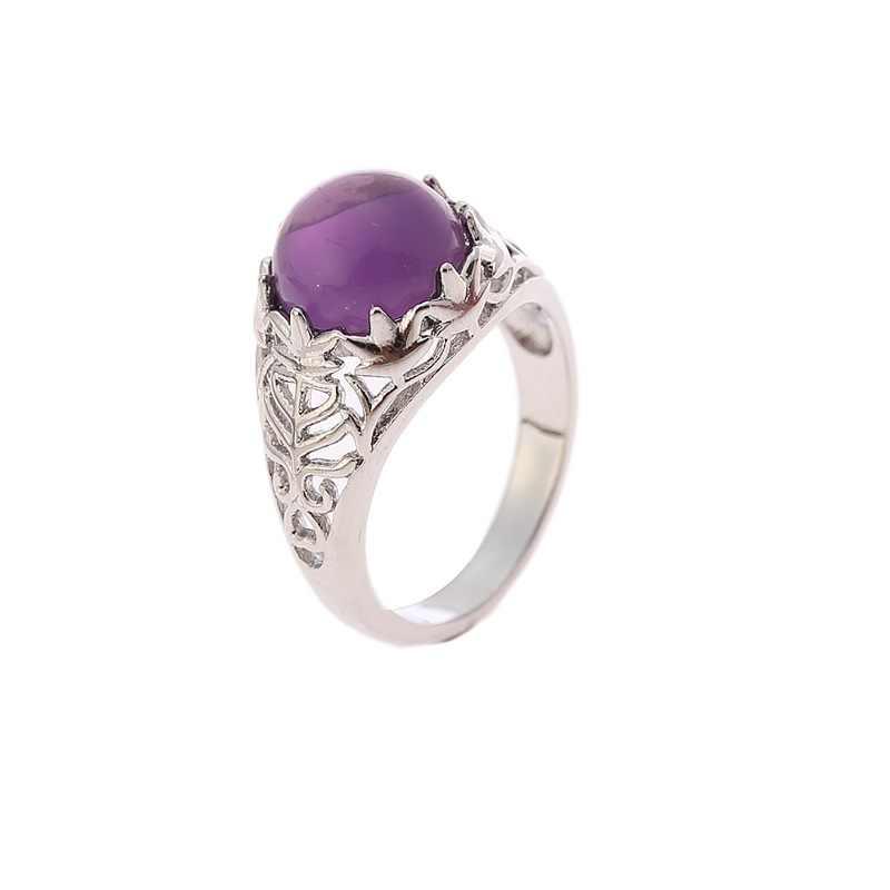 OMHXZJ Bán Buôn Châu Âu Thời Trang Phụ Nữ Người Đàn Ông Bên Món Quà Cưới Tròn Màu Tím Thạch Anh Tím Taiyin 925 Sterling Silver Ring RR149