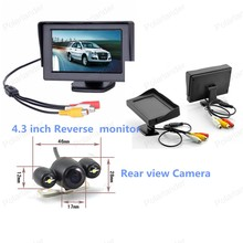 4.3 inch LED backlight display Car Monitor with 2 VA input auto switching video + reverse parking camera