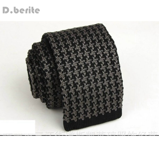 Mens Black Gray Pattern Classical Knit Tie Slim Skinny Knitted Ties