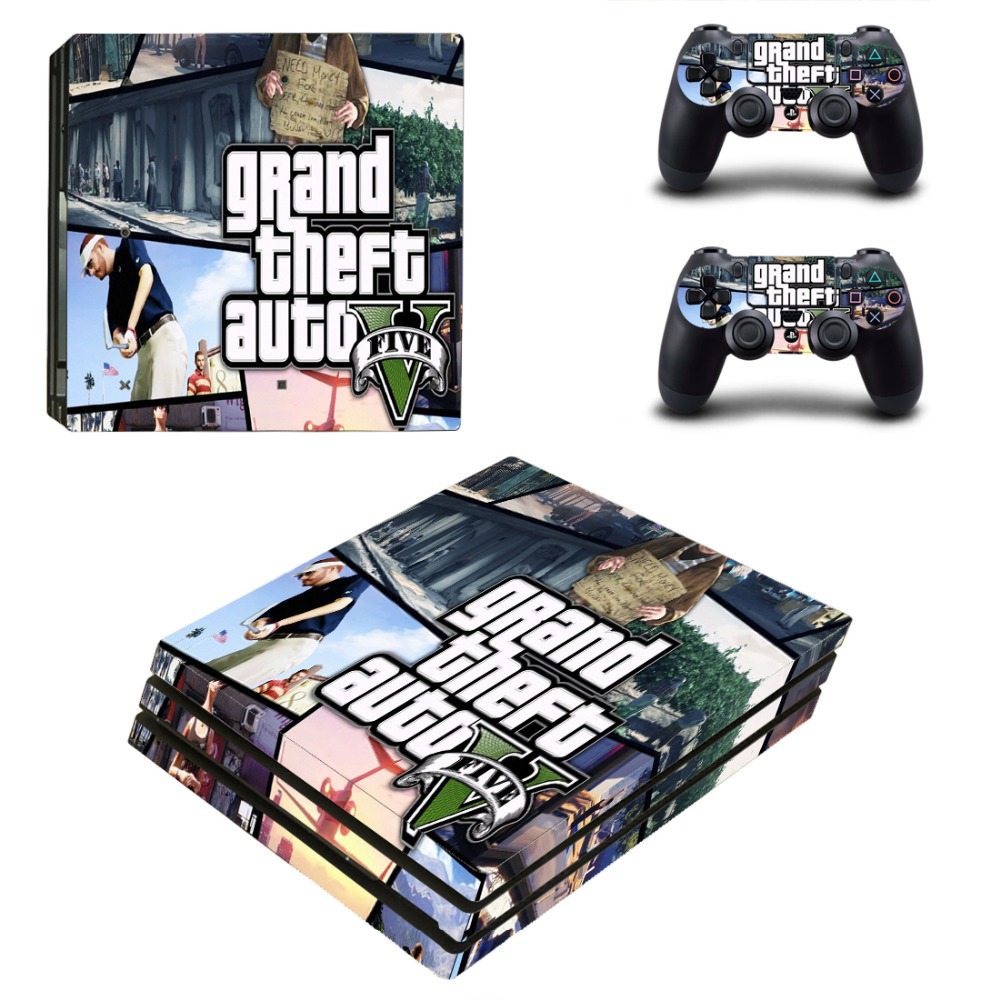 Grand Theft Auto V PS4 Pro Skin Sticker Cover For Sony Playstation 4 Pro Console&Controllers