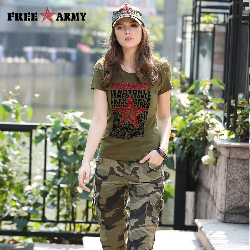 2016 Fashion Summer Style T Shirt For Women Army Green Letter Printing Cotton Casual T Shirt