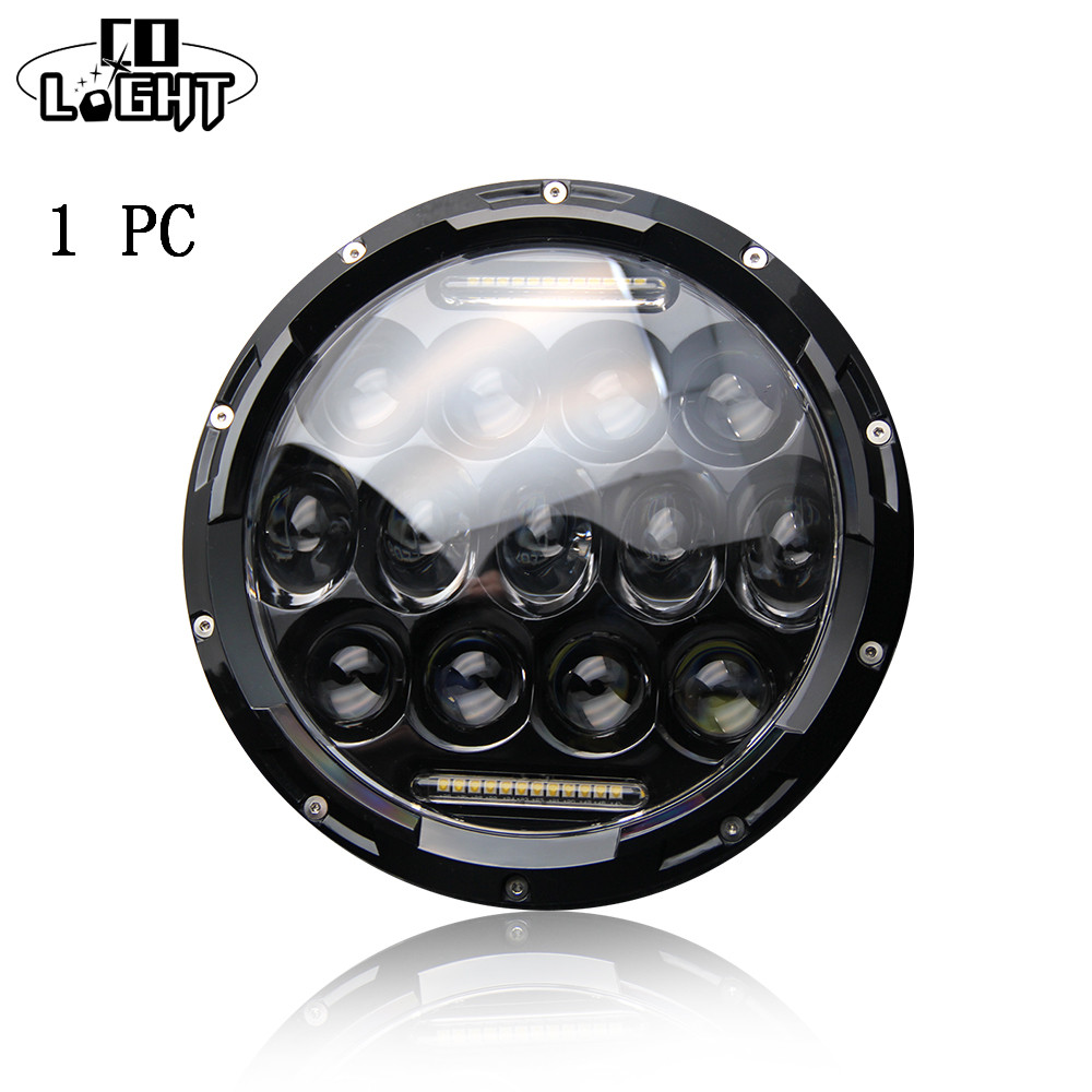 7 inch Round 75W Hi/Low Beam Motorcycle LED Headlight Bulb DRL DC 12V 24V for Harley Davidson For 4X4 Jeep Wrangler JK 7 inch headlight h4 motorcycle round led headlamp daymaker hi low beam head light bulb drl for harley jeep wrangler