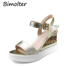 Bimolter Genuine Leather Women Bohemia Sandals 10.5cm High Wedges Heels With Platform Shoes Golden Back Strap LSSB003