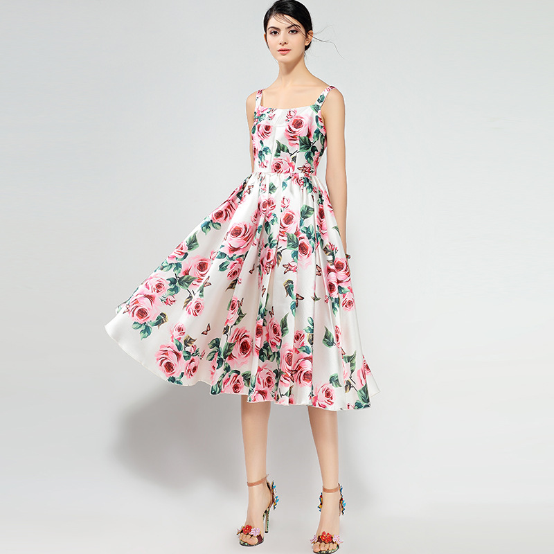 4222697f3a 2018 summer dress women s party beach sea long white printed red rose  floral dresses sexy maxi plus size elastic waist VA-in Dresses from Women s  Clothing ...