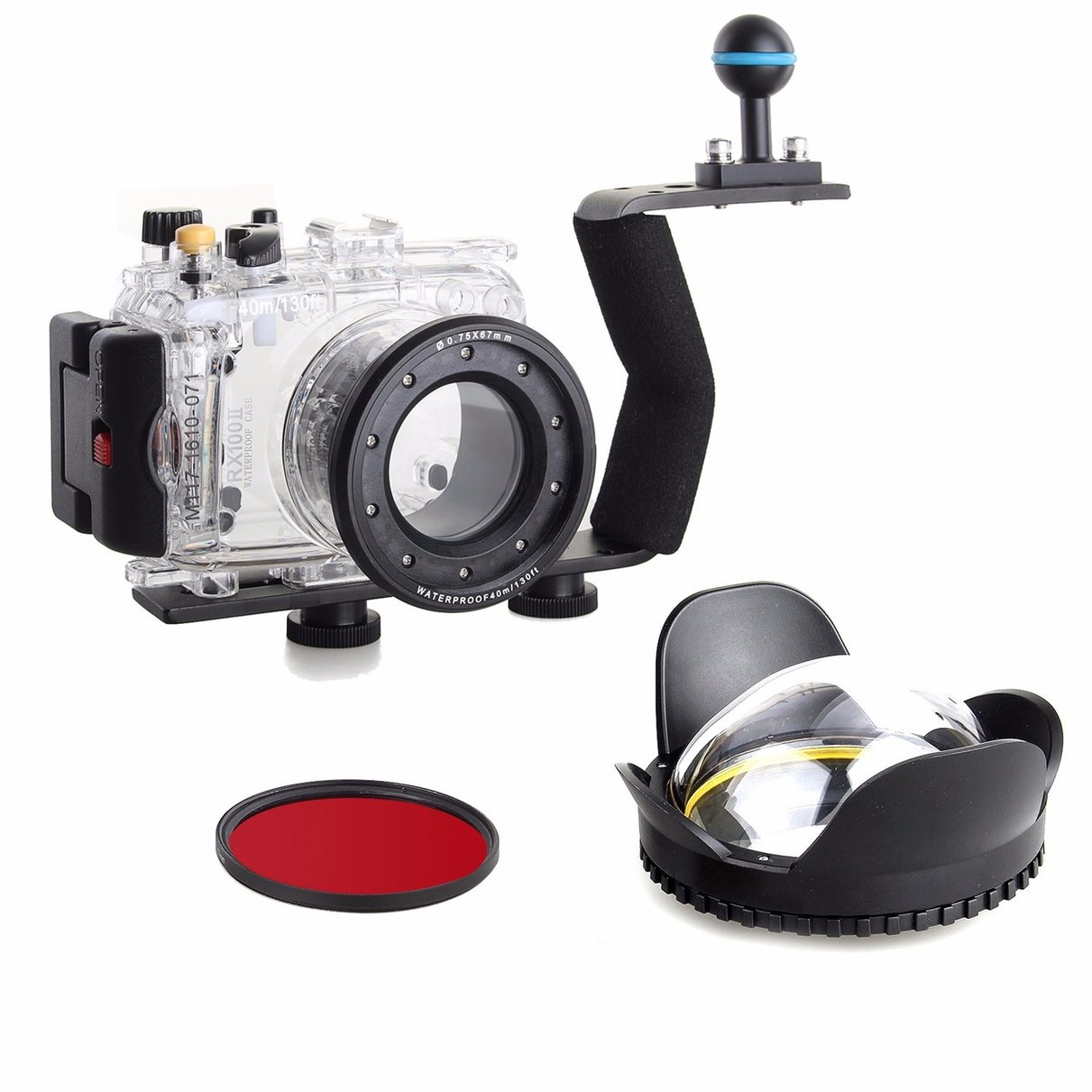 40m Waterproof Underwater Camera Housing Diving Case for SONY RX100 II  + 67mm Fisheye Lens + Aluminium Diving handle w/ filter voking aluminum 100m 325ft waterproof case underwater housing for sony a7s ii