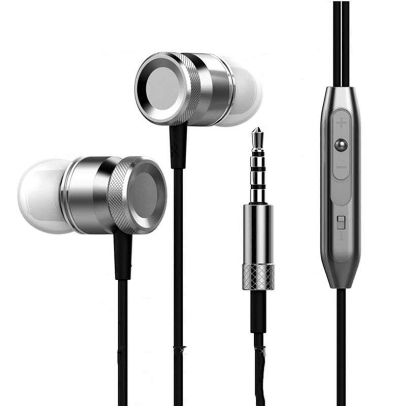 New Bass Universal Running Headphones Metal In-ear Headphone In-line control Earphone with Microphone for MP3 Phone Computer remax metal headphones base driven high performance stereo earphone with microphone and in line control rm 305m
