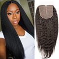 Kinky Straight Silk Base Closure Middle Free 3 Part Brazilian Virgin Human Hair Coarse Yaki Silk Top Lace Closure With Baby Hair