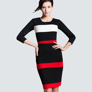 Women Sheath Patchwork Striped Elegant O-Neck Dark Blue Summer Dress Sleeveless Formal Bodycon Knee-Length Office Dress B275