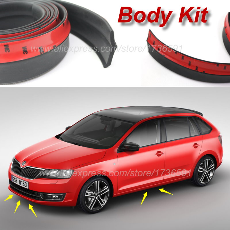 Bumper Lip Deflector For Skoda Rapid a5 a7 YETI Superb Citigo Fabia Octavia 2 CitiJet MissionL Spoiler Skirt Body Kit Strip ownsun innovative super cob fog light angel eye bumper cover for skoda fabia scout