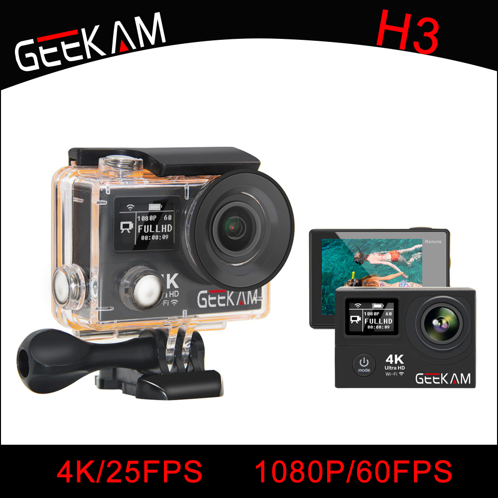 H3 Action Camera 4K Wifi Ultra HD 170D Go 30M Waterproof Mini Cam Pro Double Screen Swim Sports Camera Hero 4 Style 2017 arrival original eken action camera h9 h9r 4k sport camera with remote hd wifi 1080p 30fps go waterproof pro actoin cam