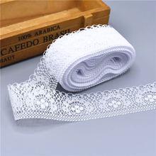 10 ярдов Высокое качество красивый белый кружево, лента, тесьма 40 мм кружевная бейка DIY вышитые для Вышивание украшения африканский кружево ткань