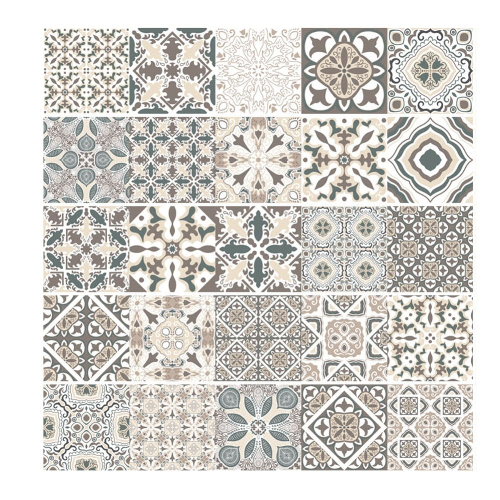 Vintage Mosaic Wall Tile Stickers Waist Europe Style Line