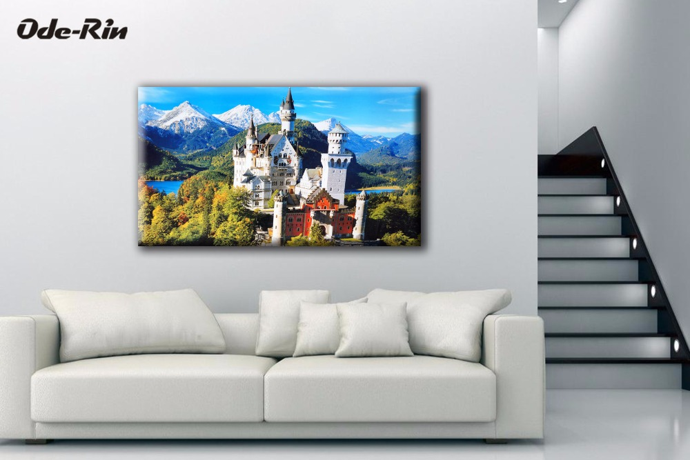 drawing background decoration bedroom landscape piece originality canvas frame building simple mouse modern painting