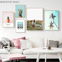 Landscape Canvas Poster Nordic Decoration Horse Palm Pineapple Cactus Wall Art Print Painting Picture Scandinavian Home Decor