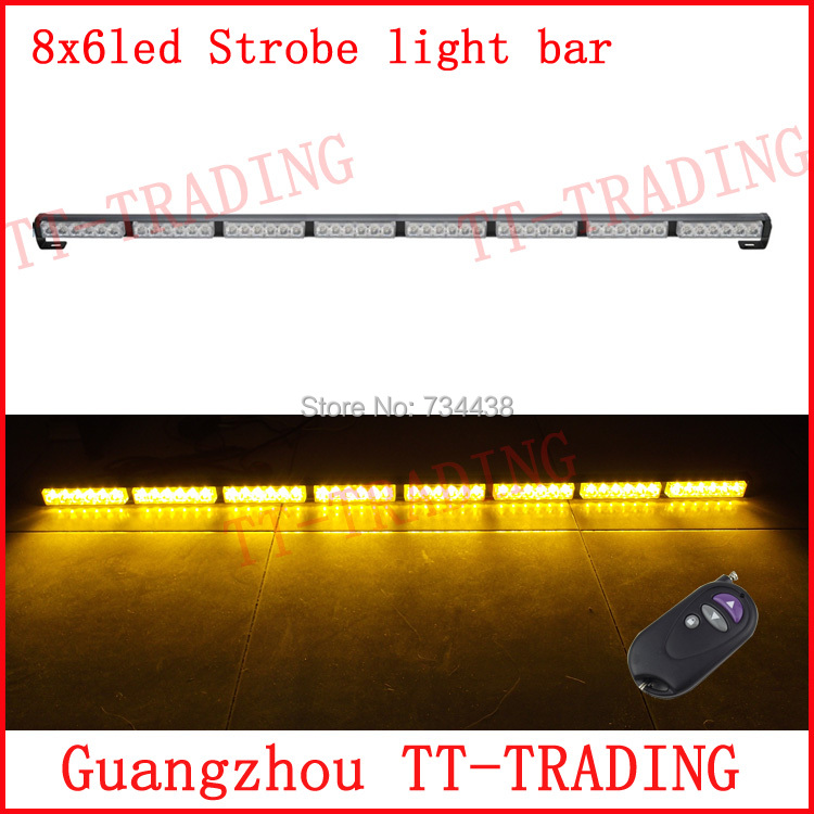 Wireless control Car Strobe Light bar 48 LED Police warning Lights emergency strobe lights DC 12V 125cm red blue white amber car strobe light bar 30 led flash lights police warning lights emergency strobe lights dc 12v 75cm 29inch red blue white amber