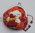 Lovely Cartoon Maneki Neko Style Key case Coin bag Coin purse Wallet color random Free Shipping