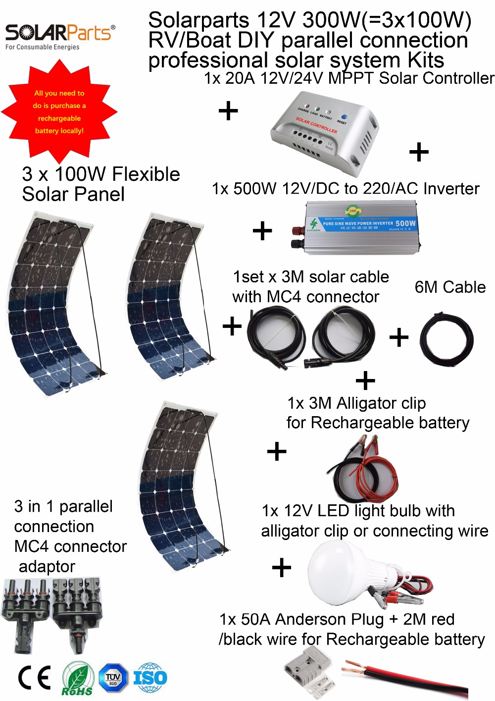 Solarparts 1x300W Professional DIY Boat Marine Kit Solar Home System 3x100W pvflexible solar panel MPPT controller