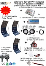 Solarparts 1x300W Professional DIY /Boat/Marine Kit Solar Home System 3x100W pvflexible solar panel MPPT controller Inverter LED