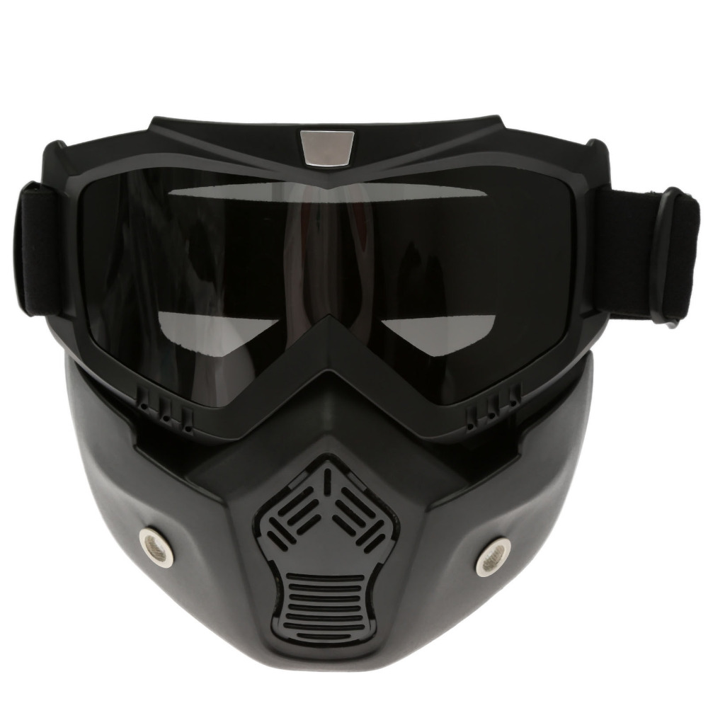 fb700ddeaad8a Motocross Óculos de proteção do Capacete Máscara Destacável Filtro de Lente  Dupla Anti-nevoeiro Óculos de Boca Moda Legal para Abrir Rosto Capacete  Café ...