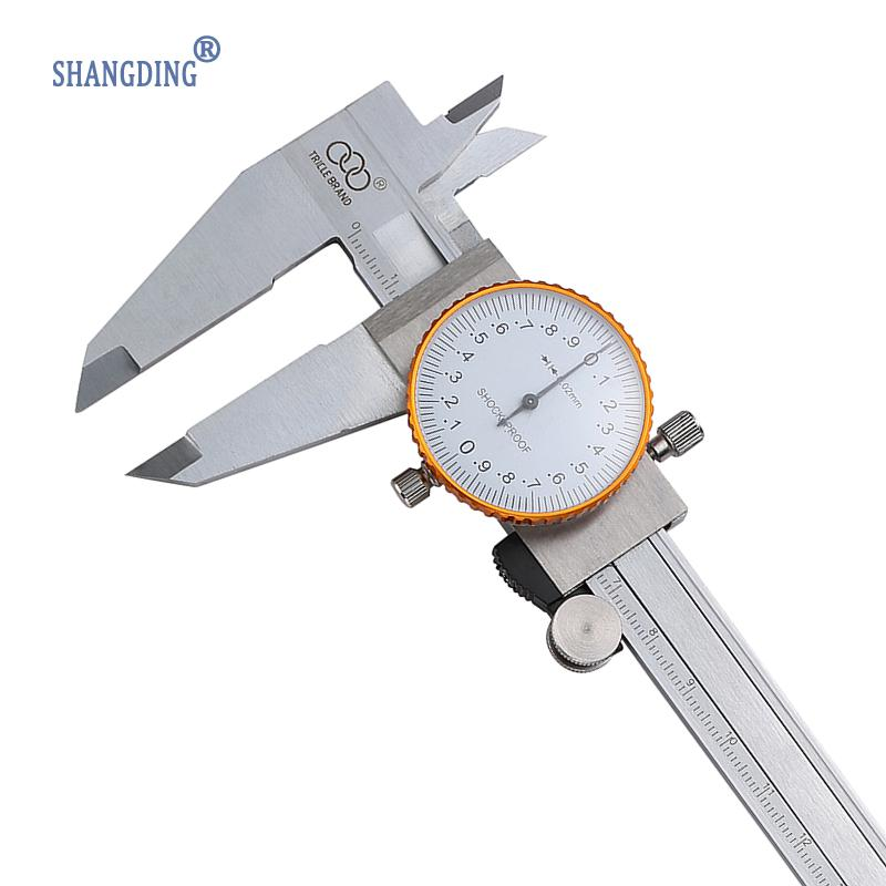 ФОТО 0-200mm/0.02 Dial Caliper Pie De Rey Vernier Caliper Gauge Calipers Micrometer Shock-Proof Paquimetro Measuring Tool Ferramentas
