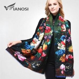 Image 2 - VIANOSI Bandana estampada para mujer, pañuelo de invierno, bufandas gruesas calientes de lana
