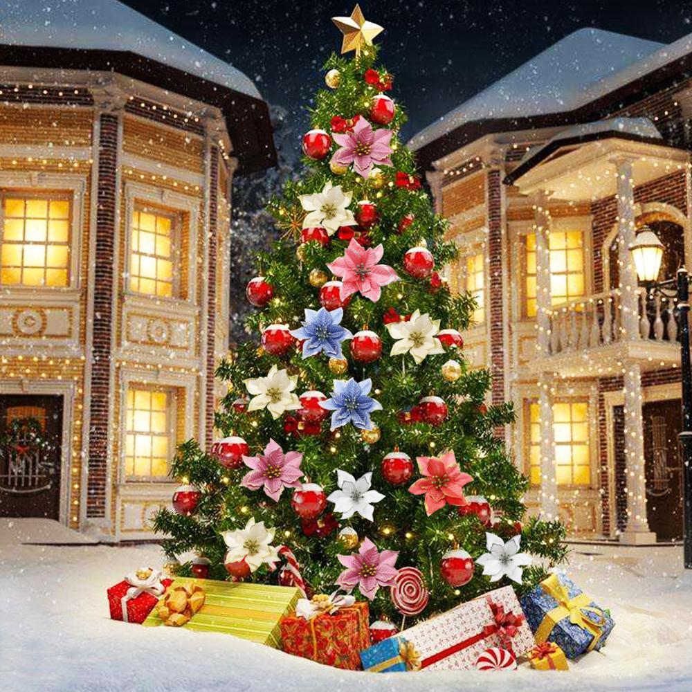 10 шт. Рождество блеск пуансеттия Рождественская елка украшения искусственные елочные украшения события вечерние товары для дома