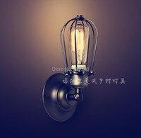 Rh علوي النادرة خمر الصناعية اديسون مصباح الجدار مرآة الأمريكية مع e27 مبة قفص ضوء أسود طلاء الذهب ac110v أو 220 فولت