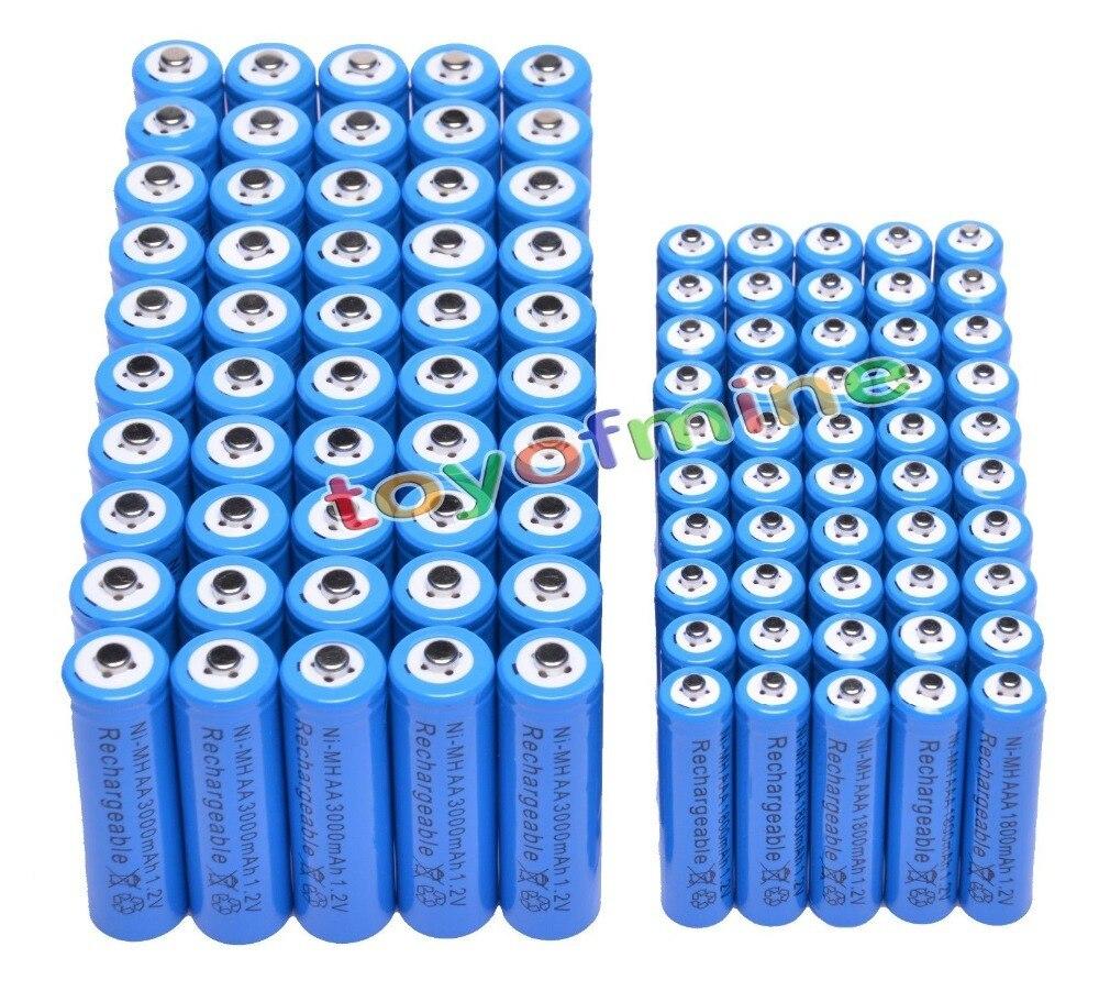 50 AA + 50 AAA 1.2V 1800mAh 3000mAh NiMH Blue Rechargeable Battery Cell