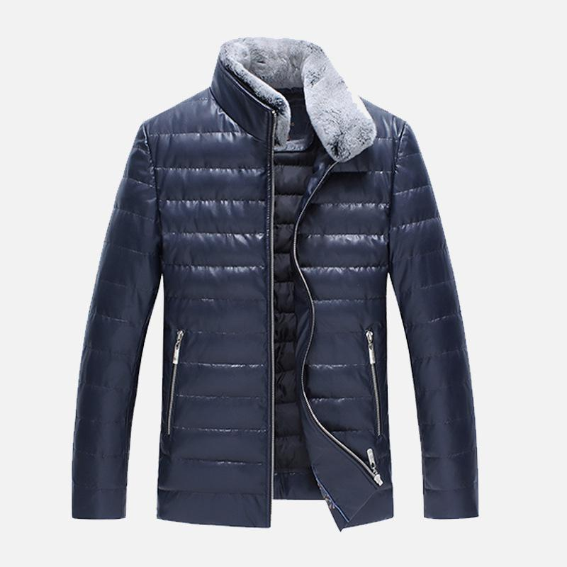 Natural Rabbit Fur Collar Men Sheep Leather Jacket High Quality Men's Warm Jacket Down And Feather Fillings