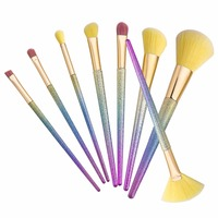 8 Pcs Colorful Cosmetic Eyebrow Eye Shadow Brushes Makeup Brush Sets Tools